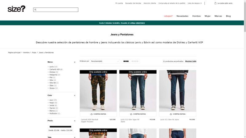 comprar pantalones en size