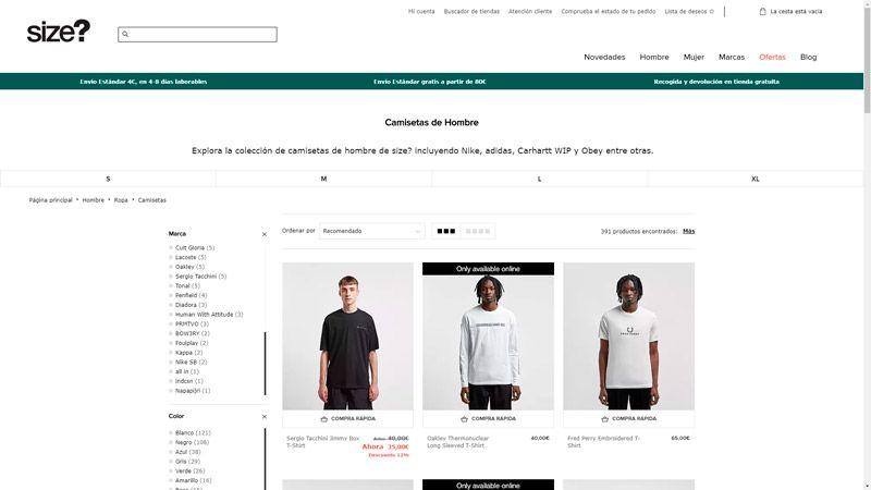 Camisetas hombre size