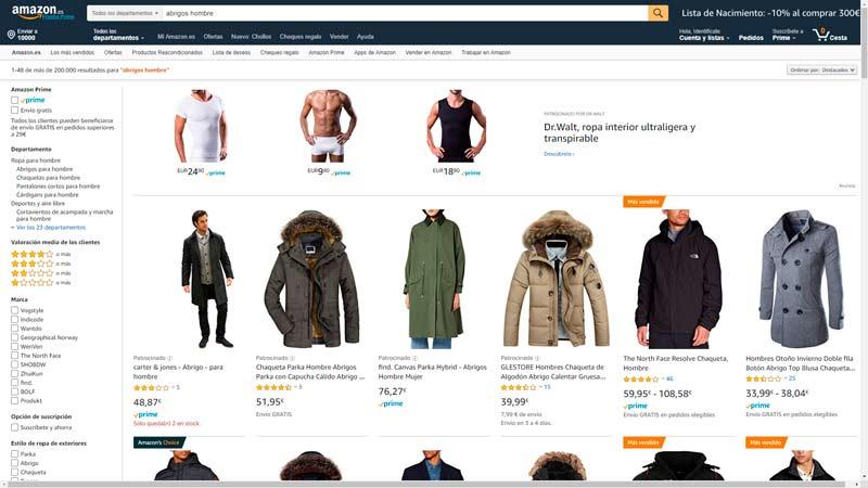 abrigos amazon hombre